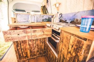 Handmade kitchen area within a campervan conversion