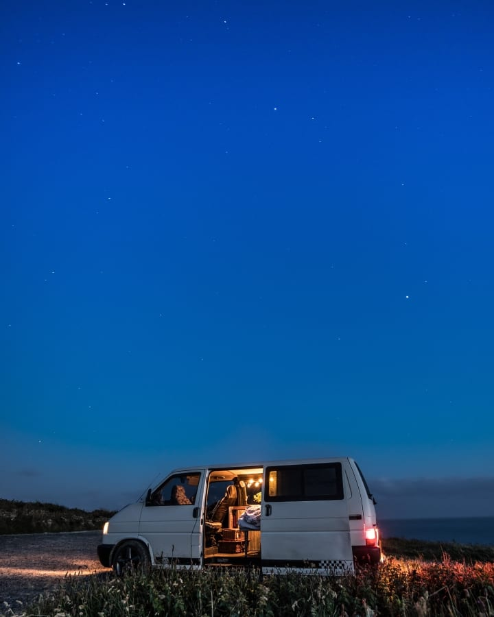 Baxter under the stars. Hire him at https://www.quirkycampers.co.uk/campervans/devon/exeter-devon/baxter/