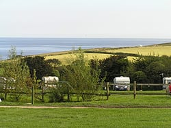 The view of the sea from a campsite in cornwall