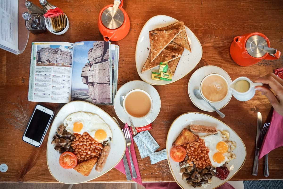 A birdseye view of two full english breakfasts and tea