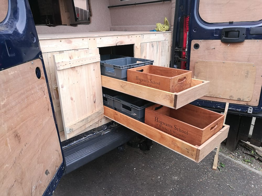 pull out storage shelves in a campervan conversion