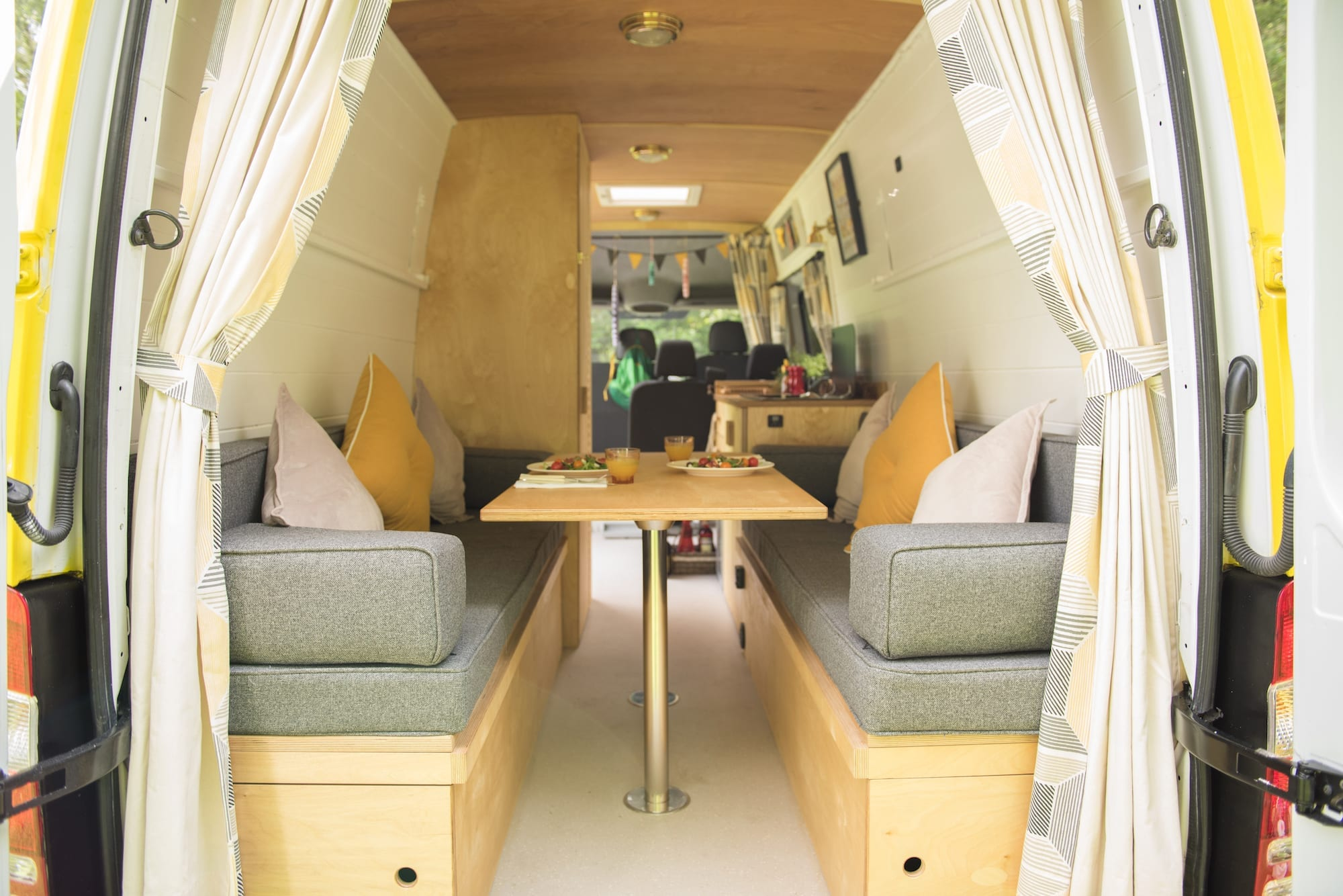 the inside of a hire campervan at a wedding