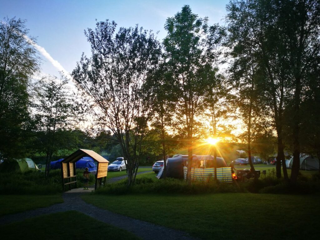 The sunset over a campsite in mid wales