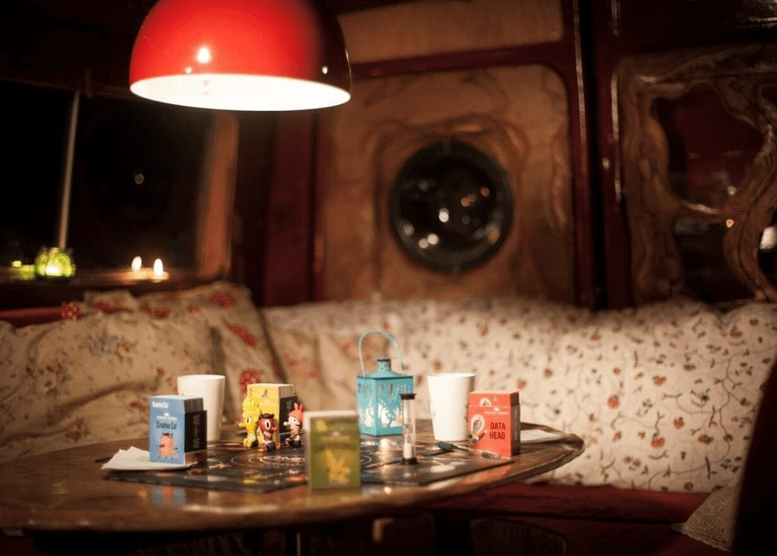 board games in a campervan conversion
