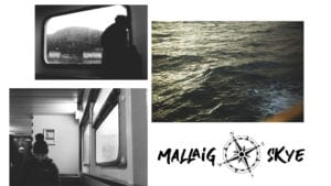 Three back and white images of the view out of the windows of a campervan and also of the sea. There is also a logo that says 'mallaig skye'