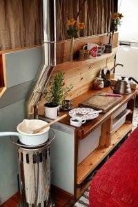 A Diesel stove inside a selfbuilt campervan