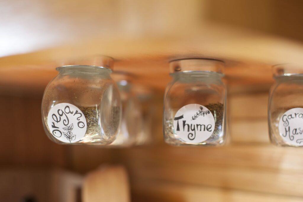 Spice jars hanging