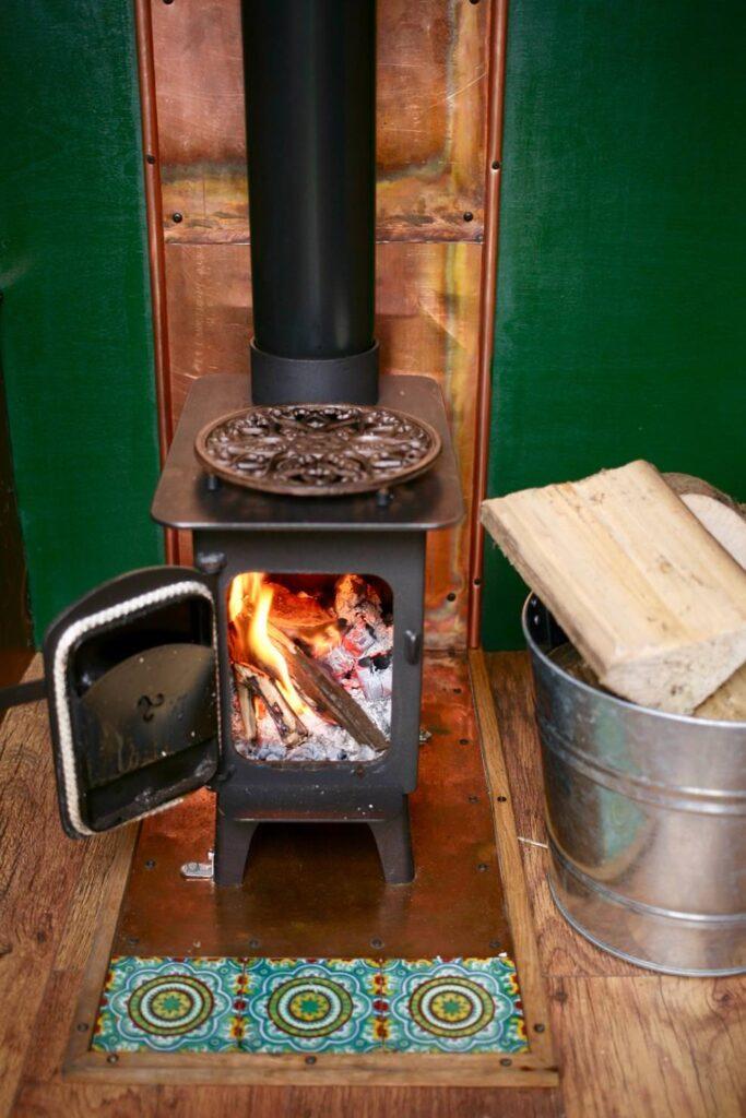 A wood burner in a self build Citroen Relay van conversion
