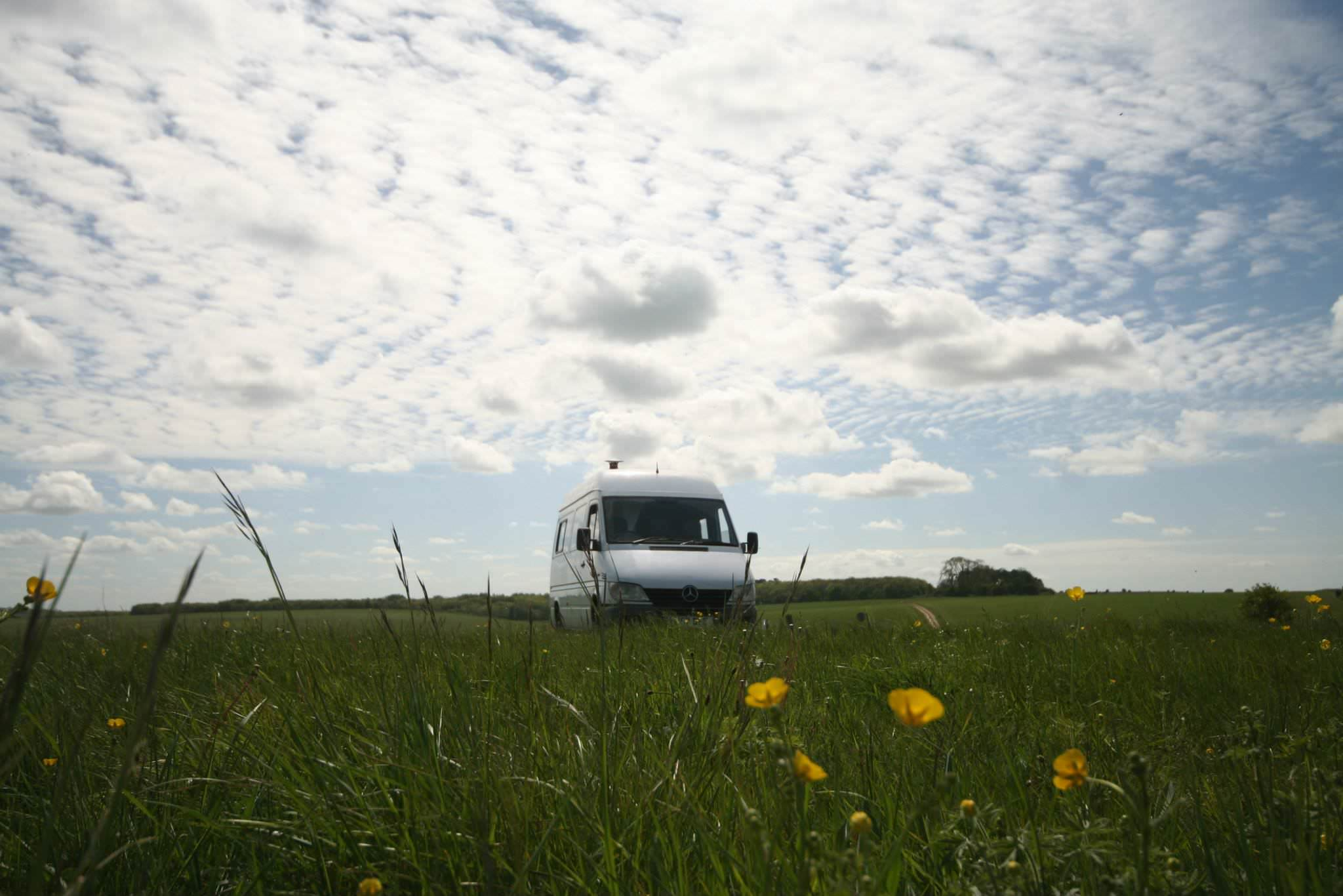 ashleigh the campervan in a field