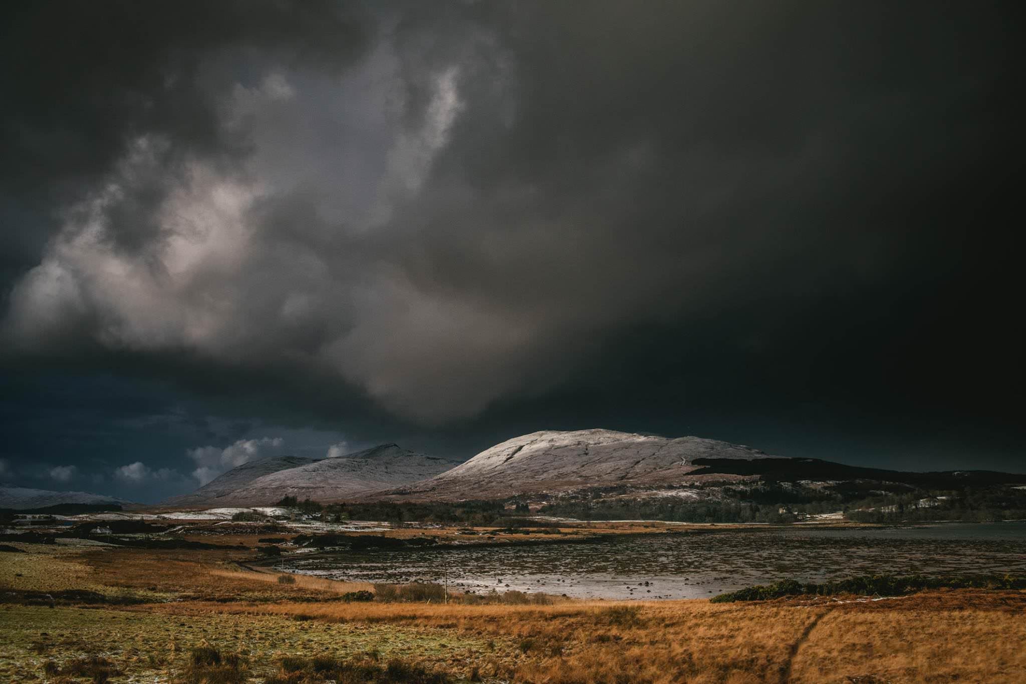A snowy capped mountain in Ireland