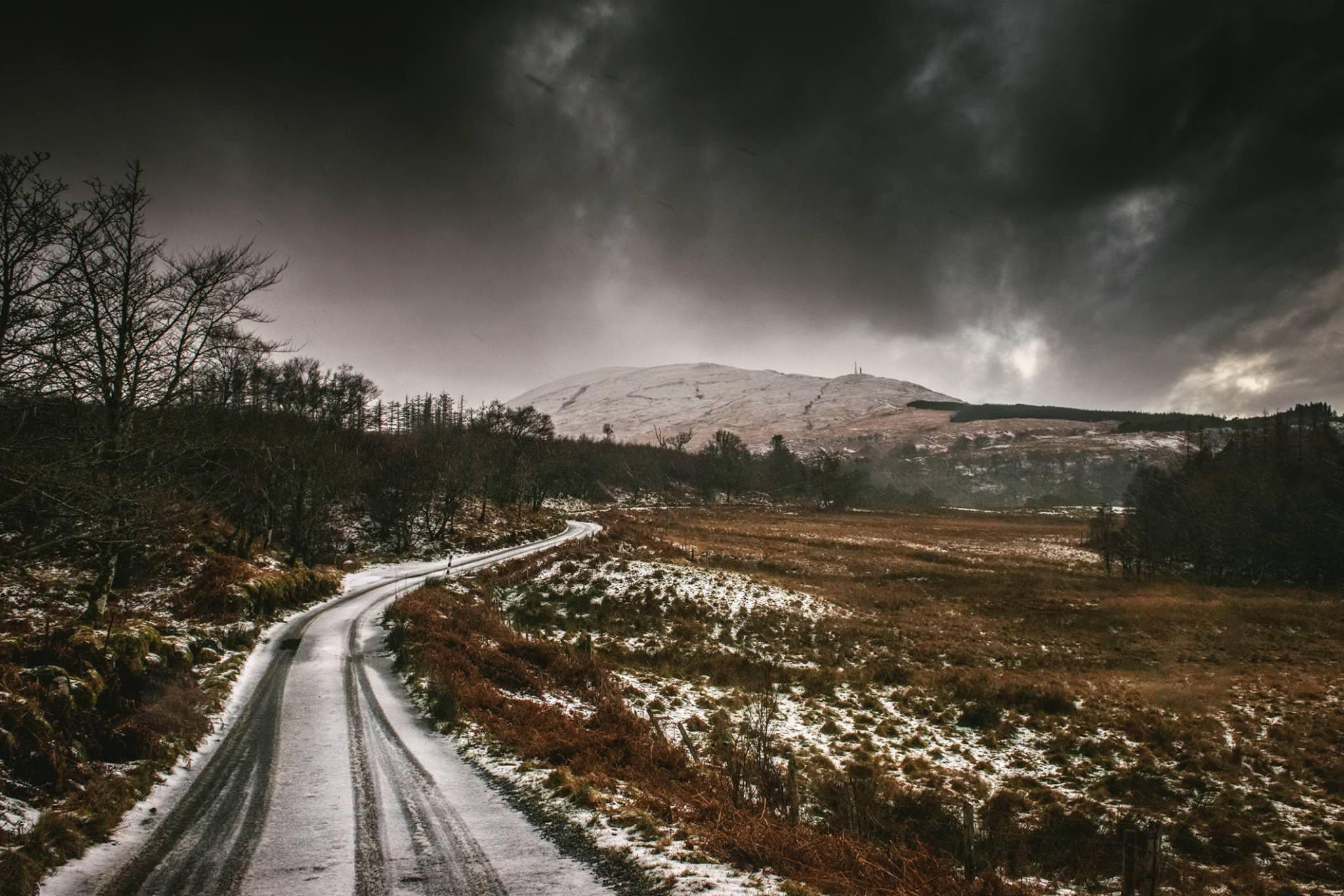 A snowy road in Ireland