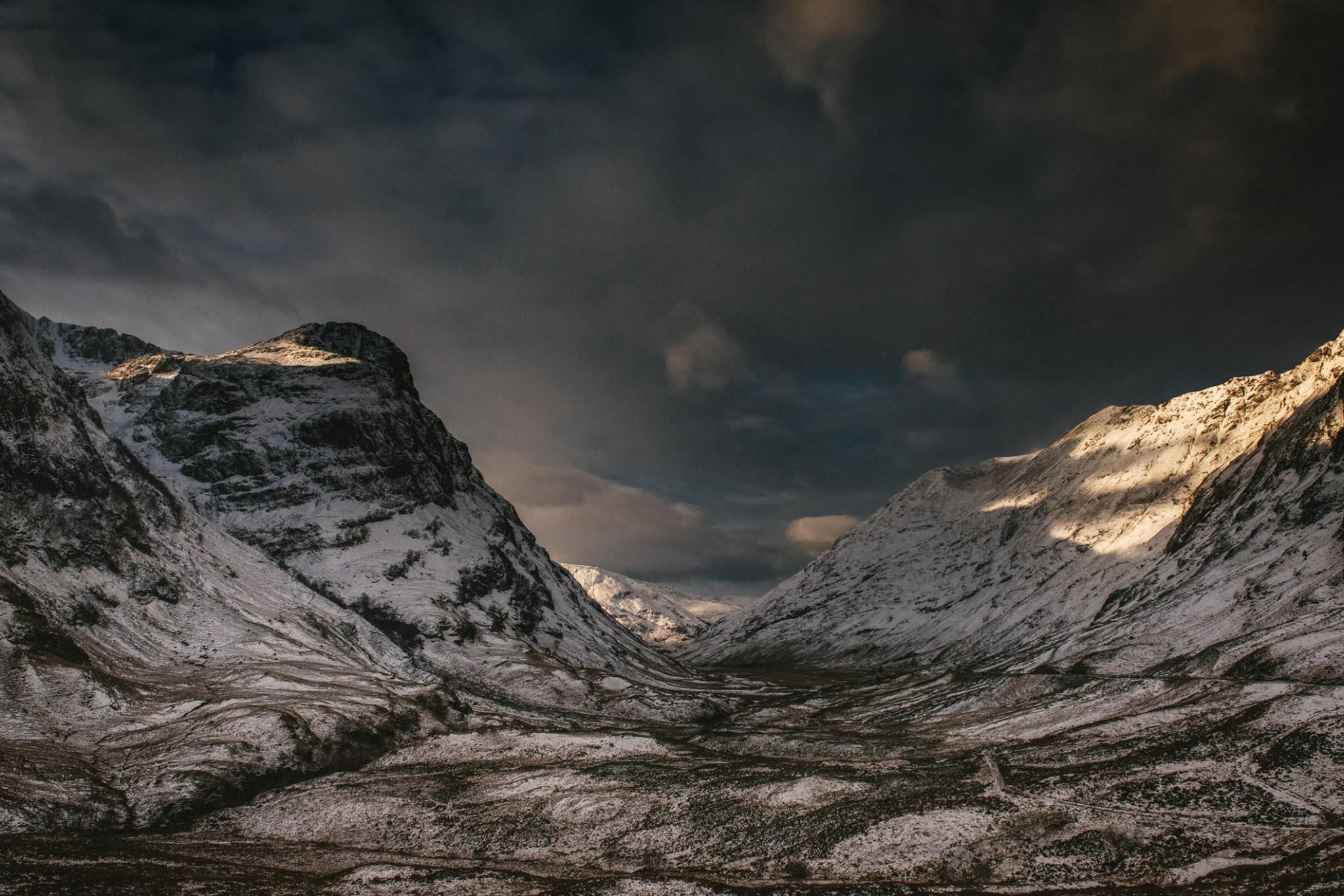 A snowy mountain valley in Ireland