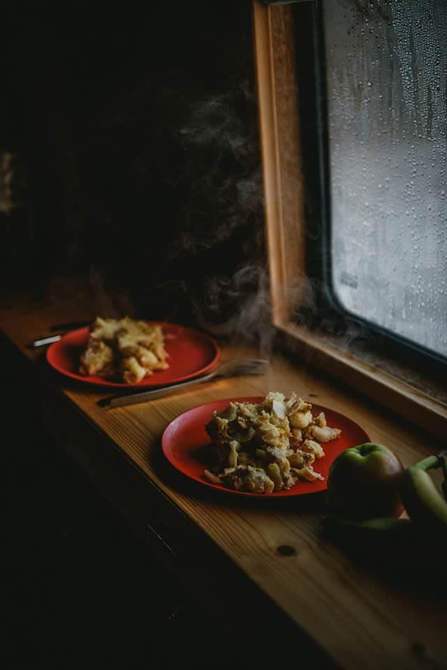 Home cooked meals inside a self built Mercedes Sprinter campervan