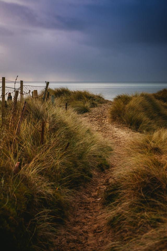 a sandy trail to a beach in Ireland