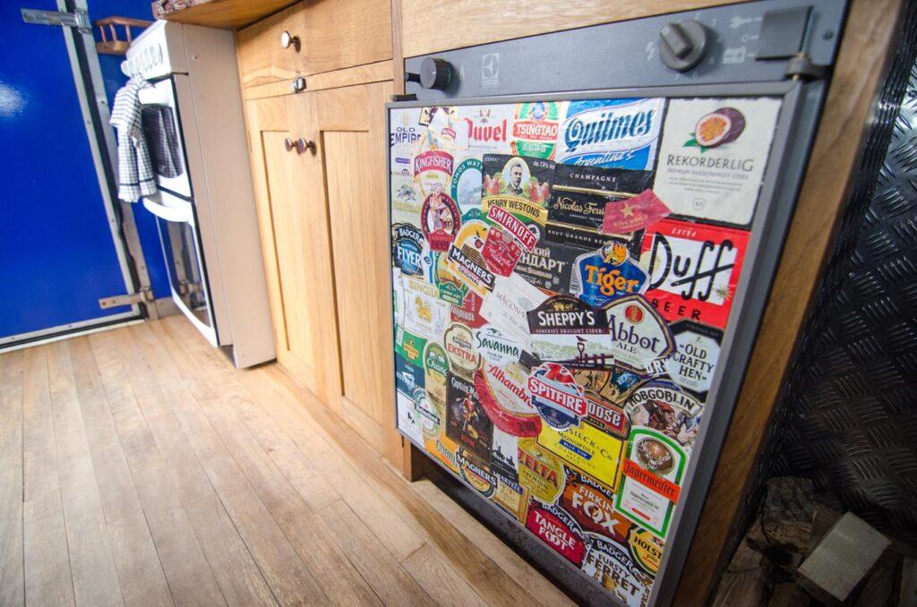 A fridge inside a campervan