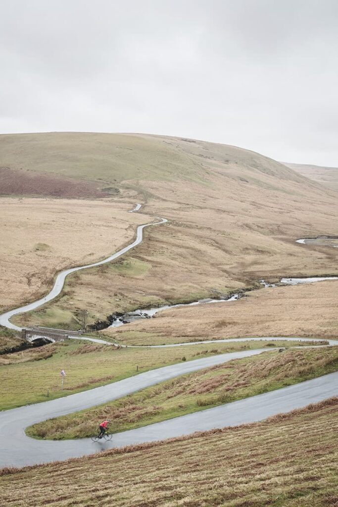 A winding country road in Wales