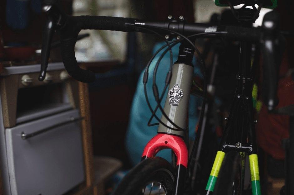 bikes inside a campervan in wales