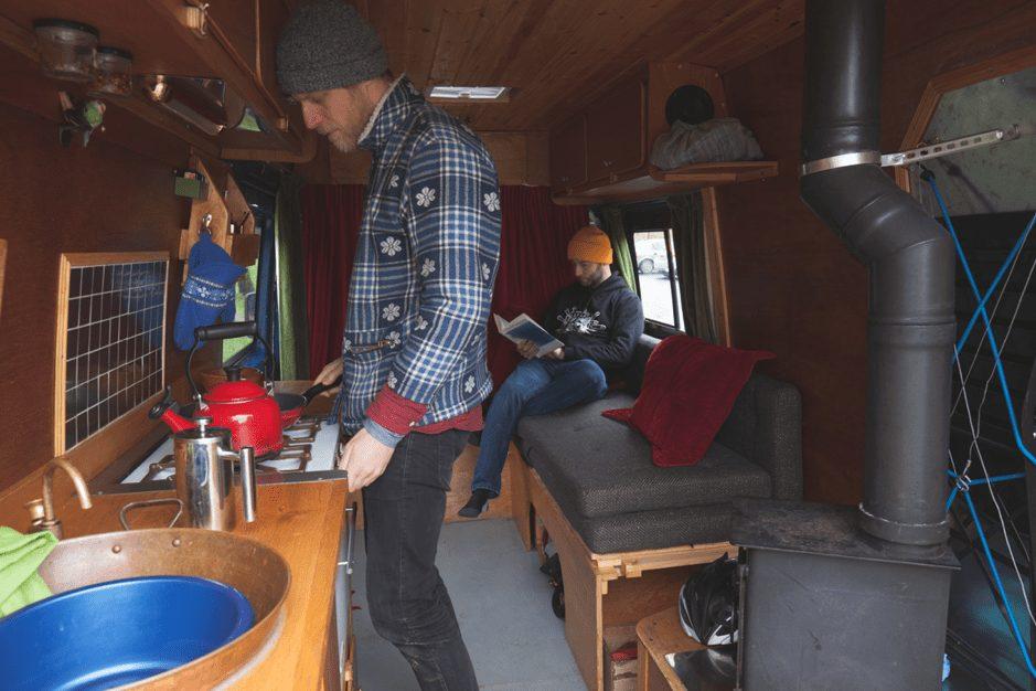 Two men in a Campervan in Wales