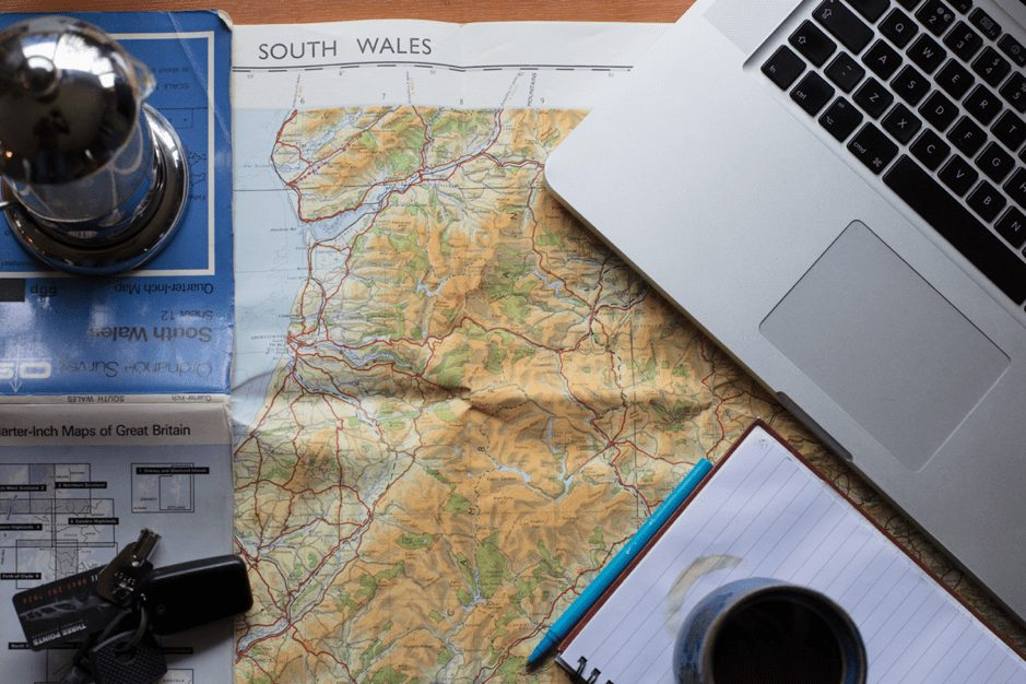 A map of South Wales inside a campervan
