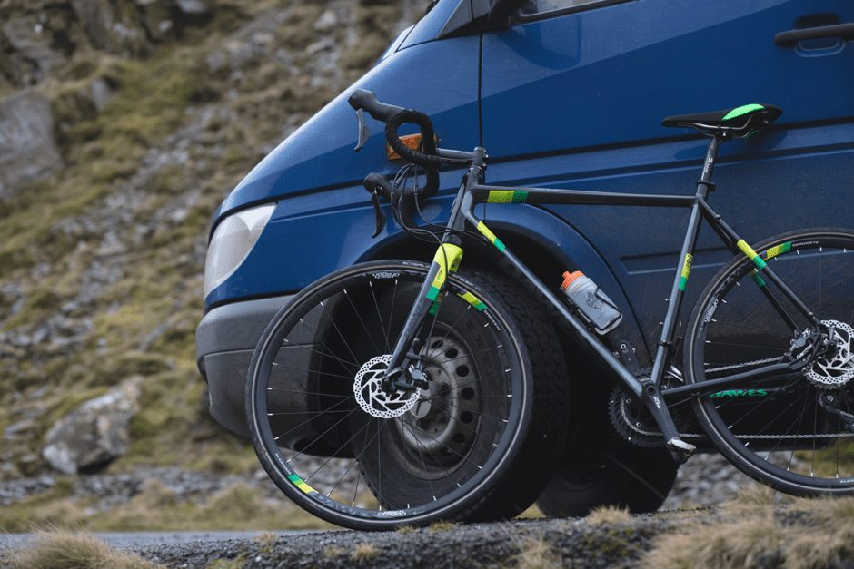 A bicyle and Campervan in Wales