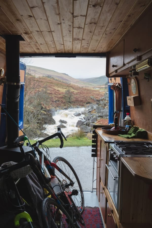 Bikes and campervan on an adventure in Wales