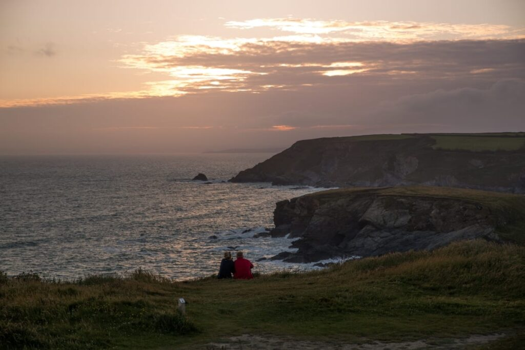 Watching the sunset in Cornwall on a campervan adventure