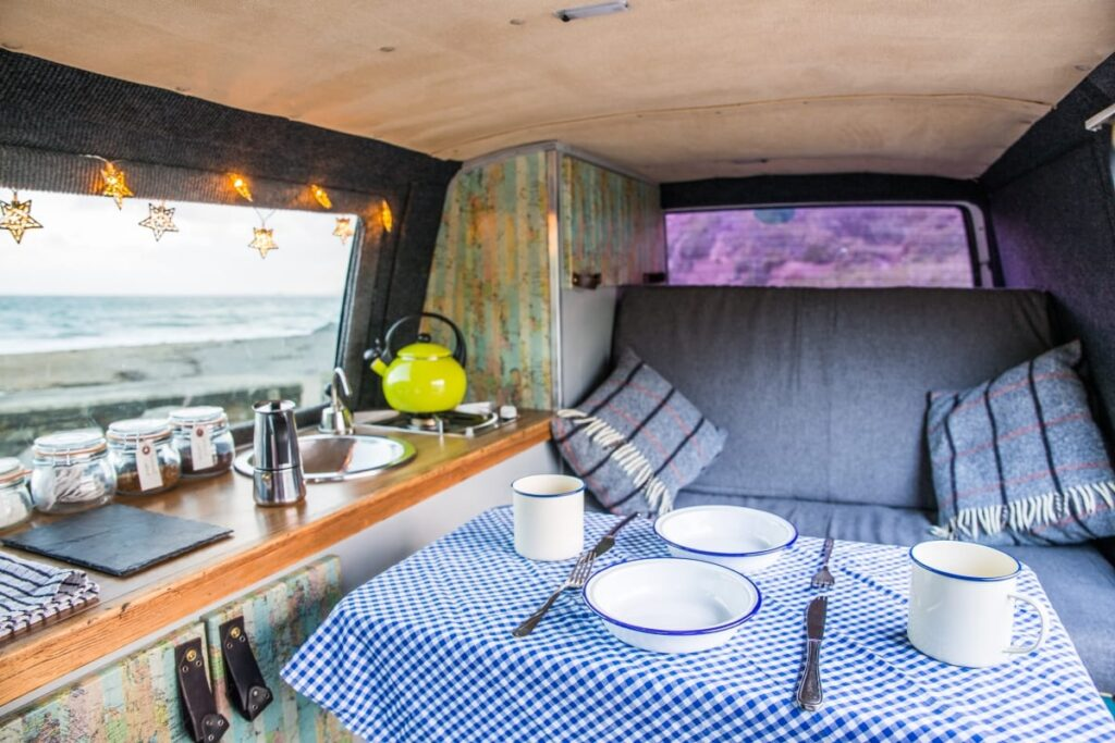 Dining and living area of this handmade selfbuilt campervan