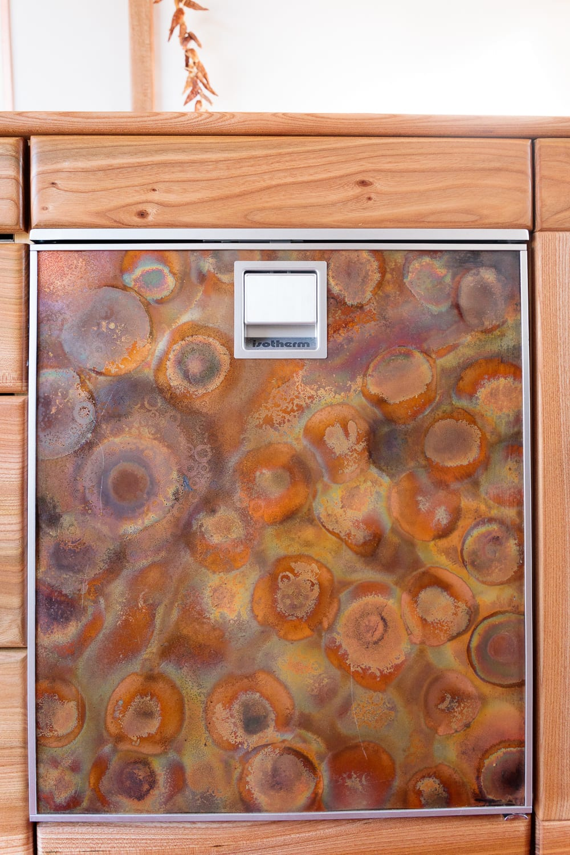 campervan fridge with bespoke front