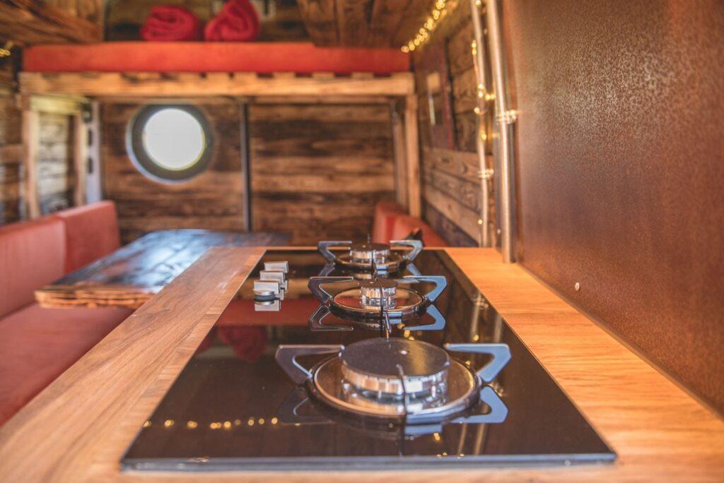 large hob in a campervan