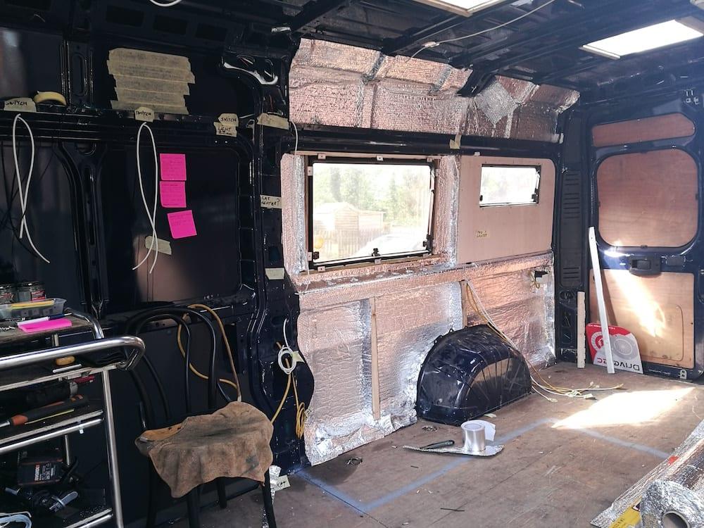 the empty van before the campervan conversion