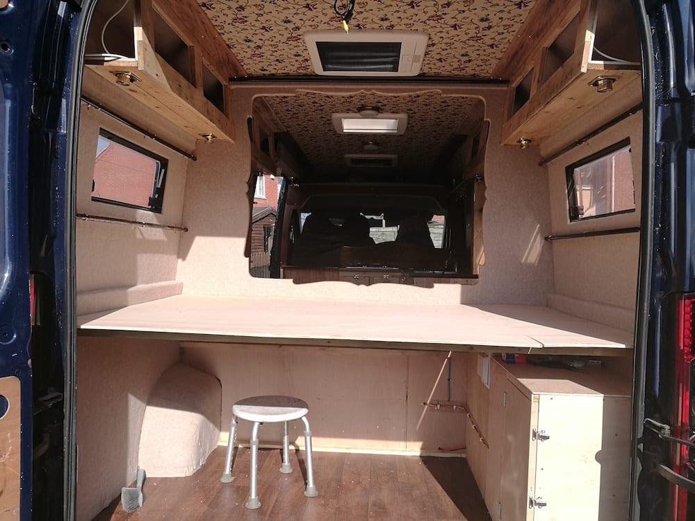 A campervan conversion in progress