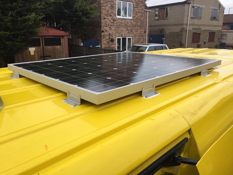 solar panel on top of a sprinter van conversion