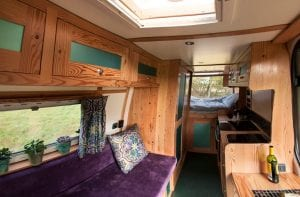 The inside of Angel one of our campervans available to hire for festivals