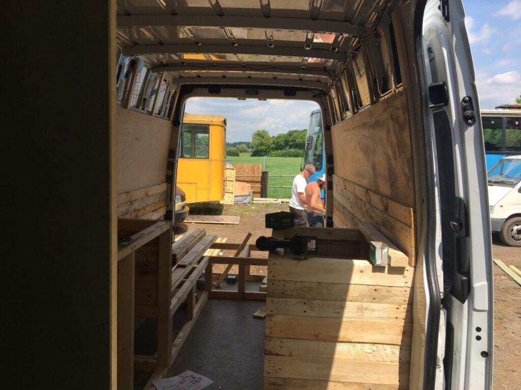 the inside of a mercedes sprinter campervan conversion