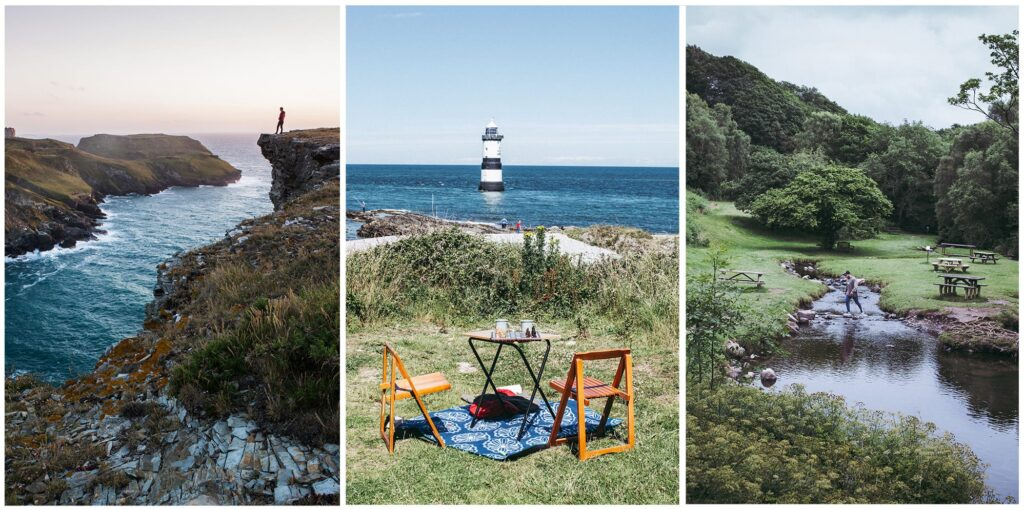 left: man on cliffs looking over the ocean. Middle: two picnic spaces looking out to a lighthouse. Right: a stream in the woods