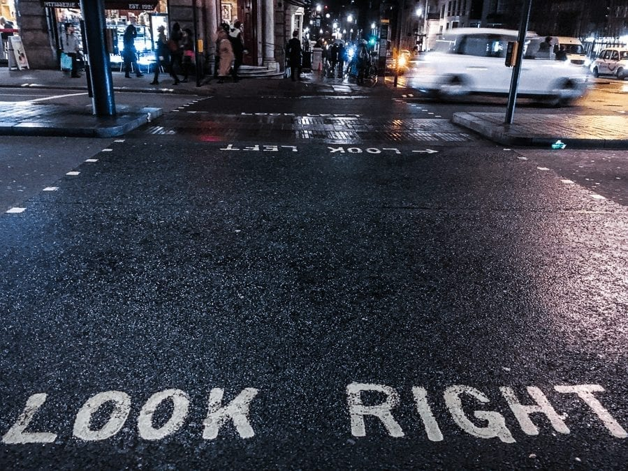 Look right written on the floor at a road crossing