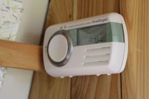 carbon monoxide alarm inside a selfbuilt campervan