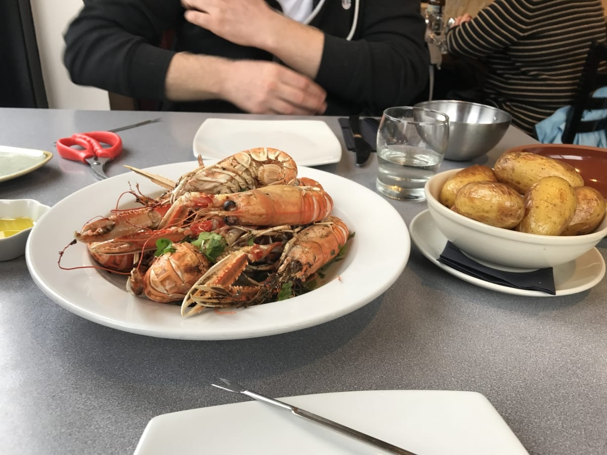 Large langoustines and potatoes at Lochleven seafood cafe
