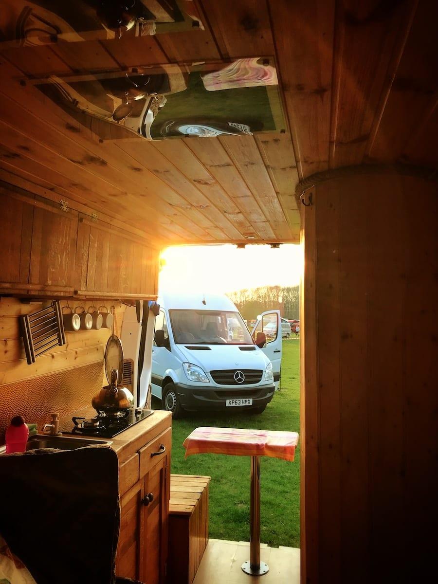 The inside of a hire campervan at a campervan festival