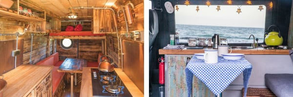 Left inside a campervan rustic wood conversion. Right: dining and kitchen area of a white and blue campervan with ocean view from window