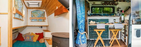 Left: bedding area with two bunk beds in a selfbuilt campervan. Right: kitchen and dining area in a selfbuilt campervan