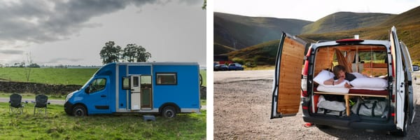 the outside of a blue campervan and another photo of the open back of a campervan with someone led on the bed