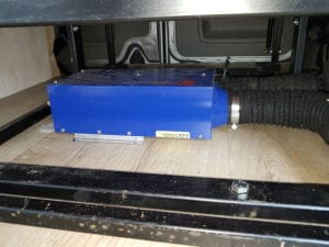 A propex heater to heat the inside of a campervan