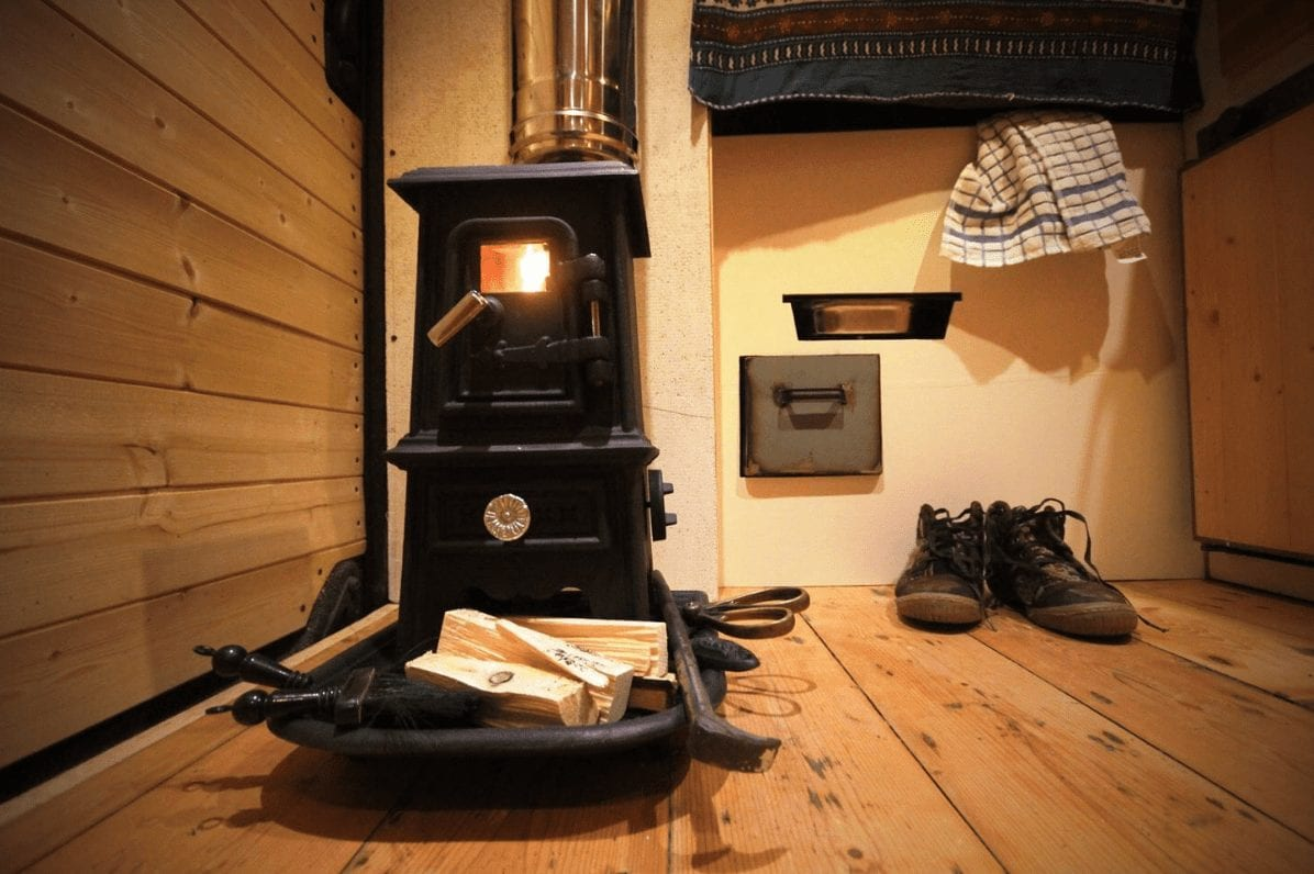 A small woodburner in a campervan