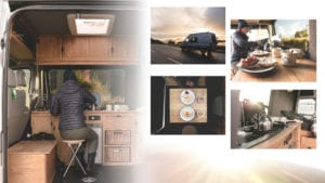A collage of images showing the inside of the campervan. They include a woman's back who is sat to a table, the breakfast table, the kettle and hob as well as  a photo of the outside of the campervan