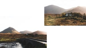 Two photos of mountains and a river with bridge in the Isle of Skye Scotland