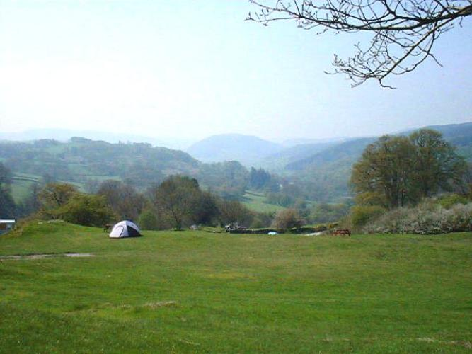 Campsite with valley views