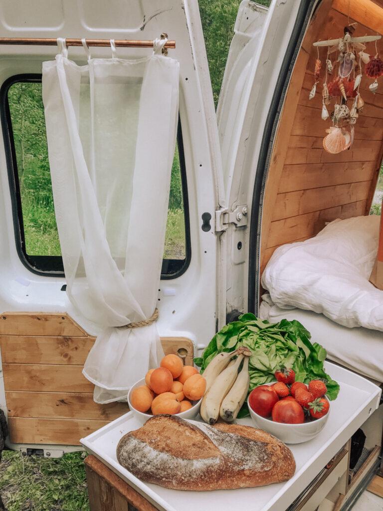 Food in a campervan