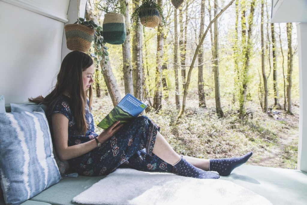 Reading in a campervan